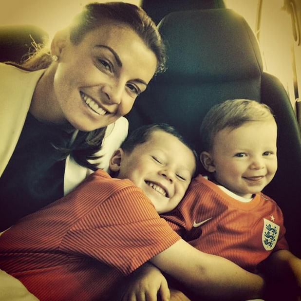 Coleen Rooney takes sons Kai and Klay to Brazil to watch Wayne play in the World Cup, 16 June 2014