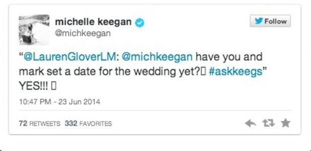 Michelle Keegan tweets that she and Mark Wright have set a wedding date, 23 June 2014