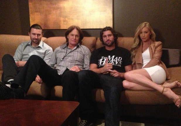 Bruce Jenner poses with sons Brandon and Brody and daughter-in-law Leah - June 2013