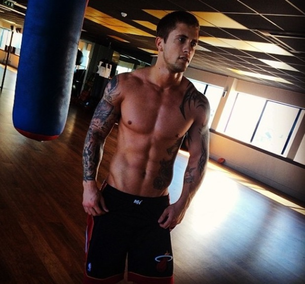 TOWIE's Dan Osborne shares topless gym photo (13 April).