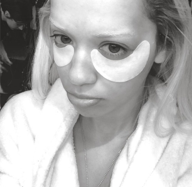 Rita Ora gets ready for photo shoot with an uplifting eye mask, 23 June 2014