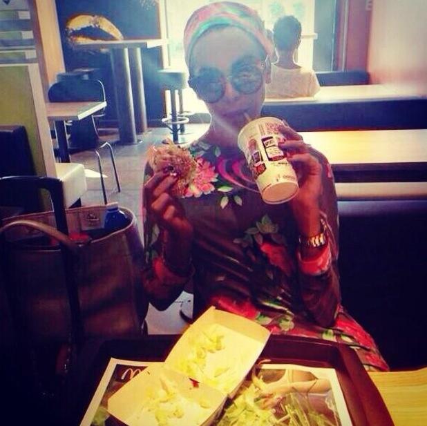 Made In Chelsea's Victoria Baker Harber eating McDonalds, Instagram, 24 June