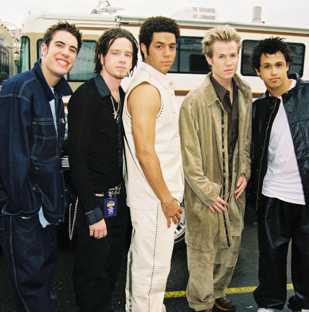 O-Town - Erik-Michael Estrada, Jacob Underwood, Trevor Penick, Dan Miller and Ashley Parker Angel - The 28th Annual American Music Awards. 8 January 2001.