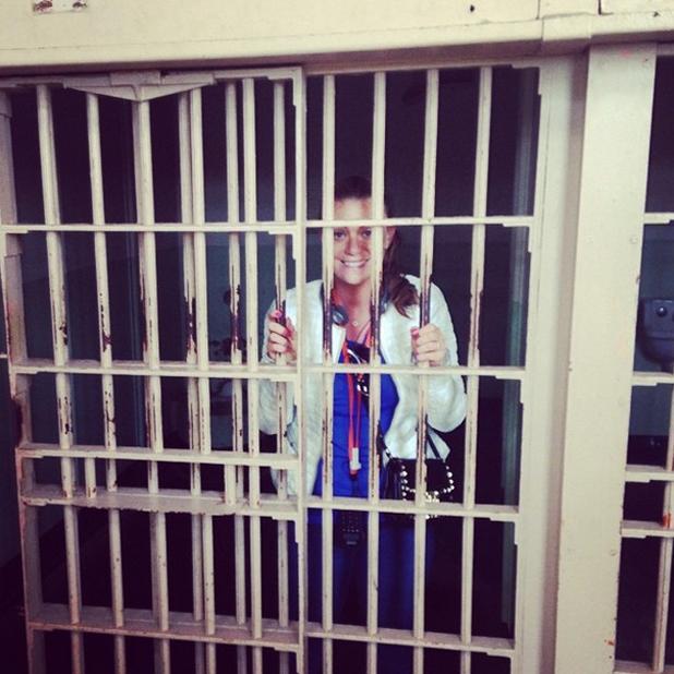 TOWIE star Billi Mucklow and footballer Andy Carroll visit Alcatraz in San Francisco, 24 June 2014