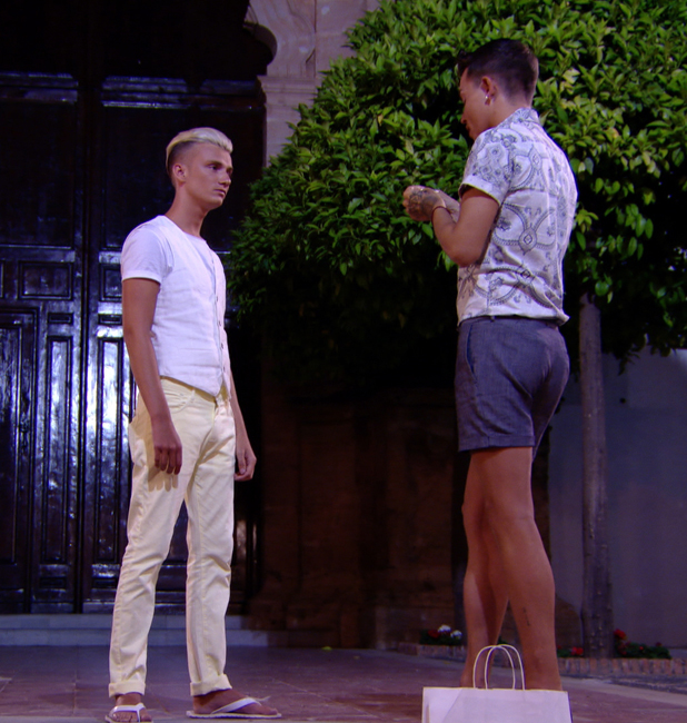 Harry Derbidge and Bobby Cole Norris have a conversation in Marbella, TOWIE episode airs 25 June 2014