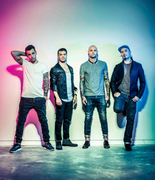 Jacob Hoggard and band Hedley in a promotional shot, June 2014
