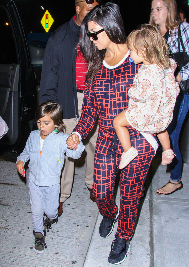 Kourtney Kardashian and kids Mason and Penelope arrive in New York, 25 June 2014