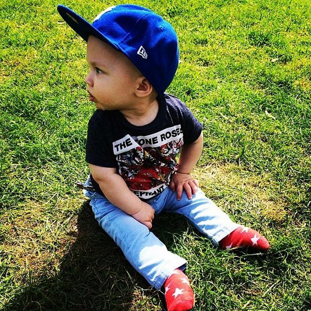 The Saturdays star Frankie Sandford shares photo of son Parker, June 2014