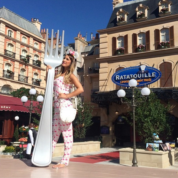 Sam Faiers enjoys a visit to Disneyland Paris where she meets Minnie Mouse and hangs out at the Ratatouille exhibition, June 2014