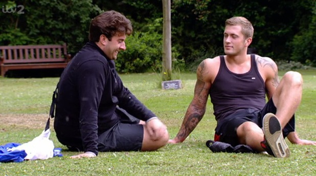 TOWIE: James 'Arg' Argent gets trained by Dan Osborne in a park. Episode aired: 29 June 2014.