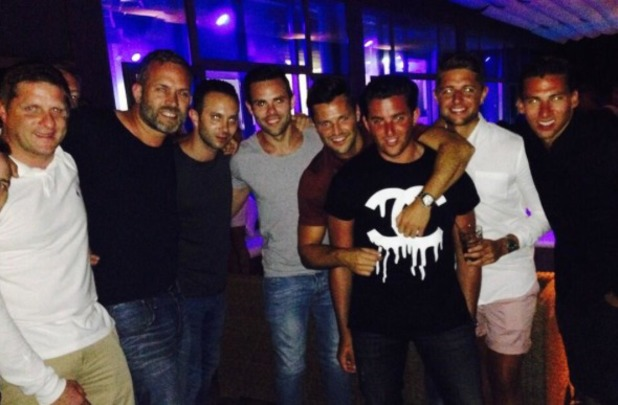 Mark Wright out in Majorca with his mates, 6.7.14