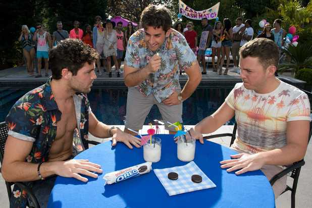 Tom Pearce, James 'Diags' Bennewith, and James 'Arg' Argent participating in Lick Off challenge