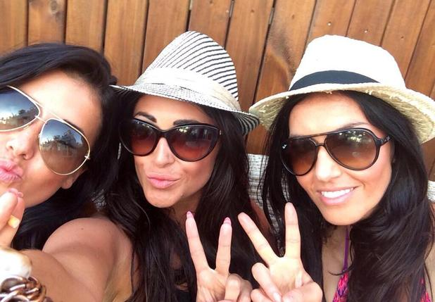 Celebrity Big Brother star Casey Batchelor poses with friends in Ibiza (29 June).