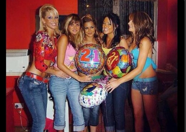 Girls Aloud - Sarah Harding, Nadine Coyle, Cheryl Cole, Kimberley Walsh and Nicola Roberts celebrating Cheryl's 21st Birthday.
