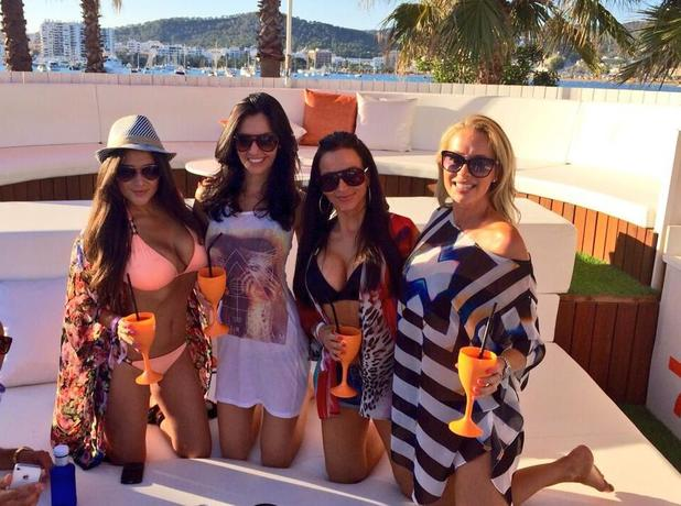 Celebrity Big Brother star Casey Batchelor poses with friends in Ibiza (28 June).
