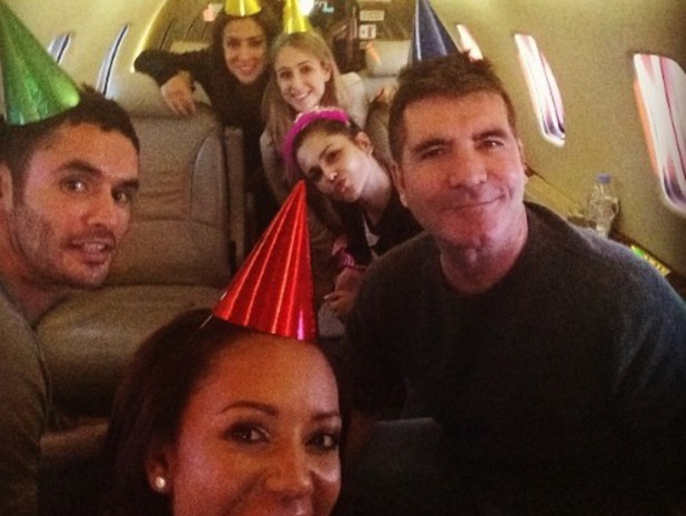 Cheryl Cole celebrates birthday with Simon Cowell, Mel B and pals on a private plane to Edinburgh - 30 June 2014