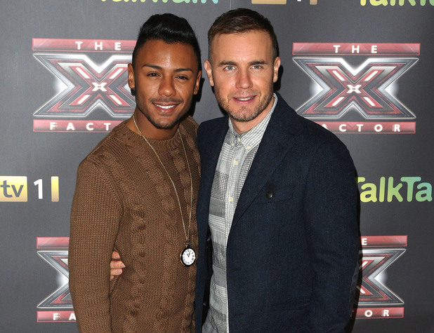 Marcus Collins and Gary Barlow ahead of X Factor final in 2011