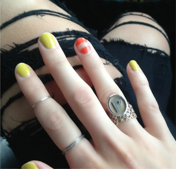 Pixie Lott's multi-coloured neon manicure, 28 June 2014