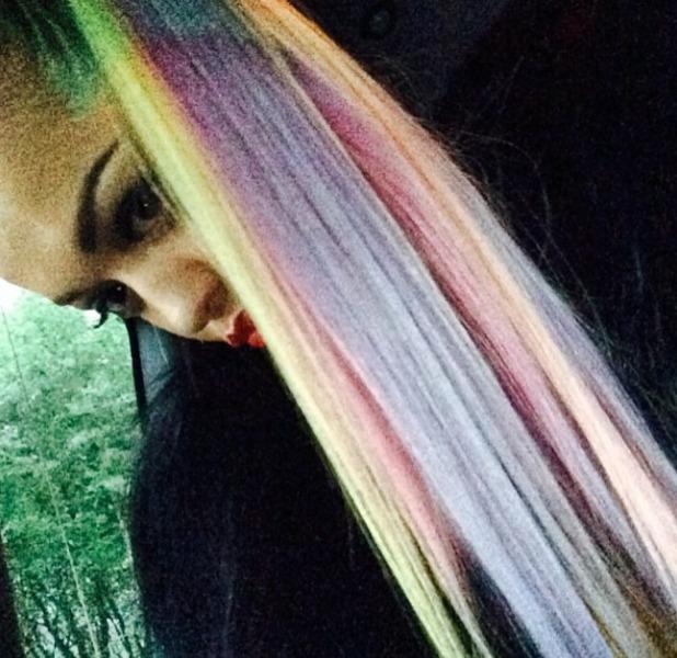Rita Ora rocks a super-long, pink and lilac-coloured ponytail, 30 June 2014