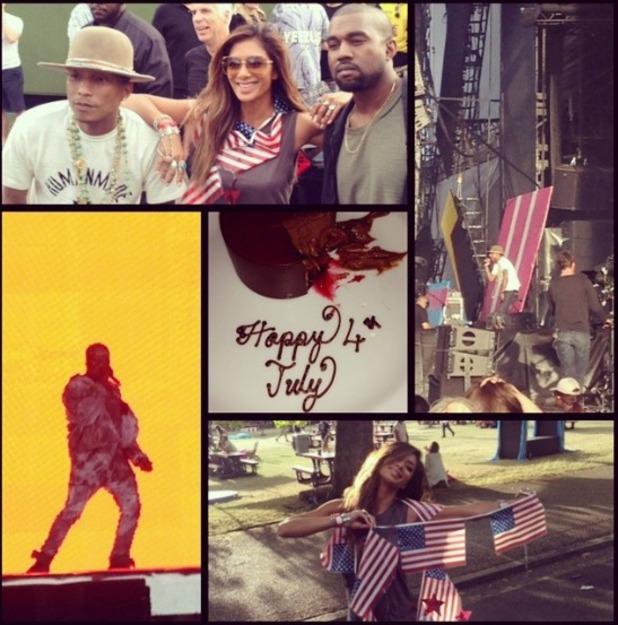 Nicole Scherzinger with Kanye and Pharrell at Wireless, 4.7.14