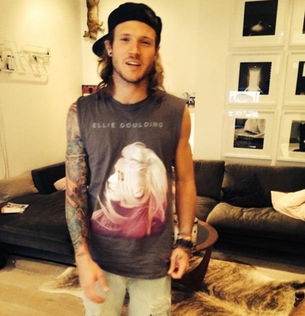 McFly's Dougie Poynter wears Ellie Goulding T-Shirt following her Glastonbury performance (30 June).
