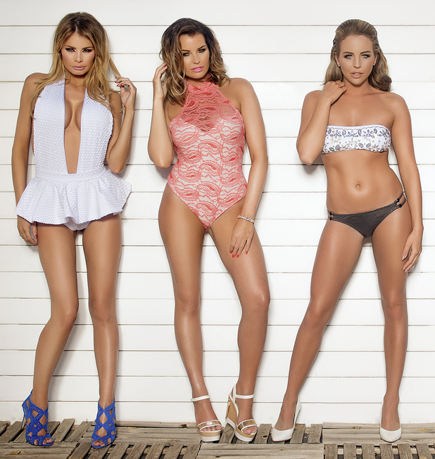 TOWIE's Chloe Sims, Jess Wright, Ferne McCann, Lydia Bright and Danielle Armstrong pose for the Marbella promotional picture - June 2014
