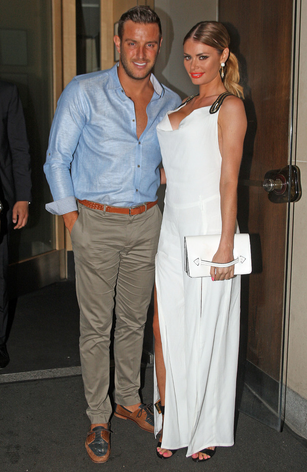 TOWIE stars Chloe Sims and Elliott Wright arrive at Nobu London, 4 July 2014