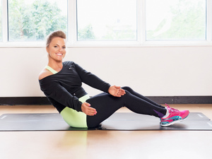 Lean back and twist, ab toning exercise,