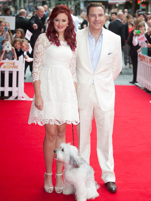 David Walliams, Pudsey the dog and Ashleigh Butler at Pudsey the Movie premiere, 13.7.14