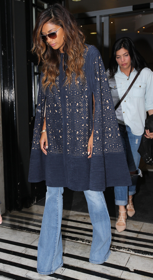 Nicole Scherzinger wears flared jeans while leaving the BBC Radio 2 studios in London, England - 11 July 2014