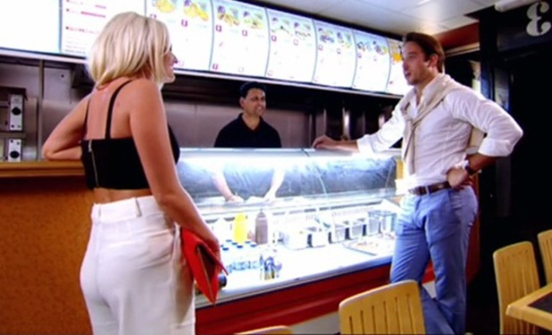 TOWIE's James Lock returns to show, meets Danielle Armstrong in kebab shop - 10 July 2014