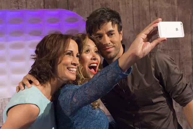 Myleene Klass, Andrea McLean, Enrique Iglesias take a selfie, Loose Women, ITV, London, 10 July