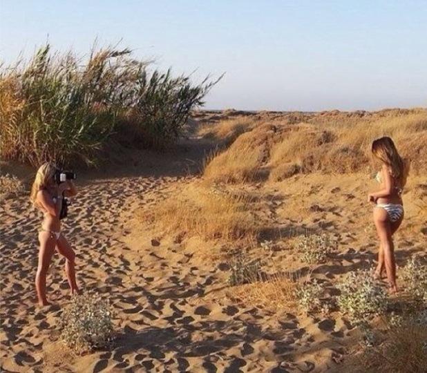 Sam Faiers shares bikini picture of herself posing on a beach photo shoot - 8 July 2014