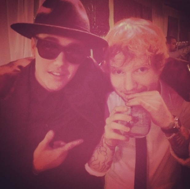 Ed Sheeran and Justin Bieber attend Scooter Braun's wedding in Canada (7 July).