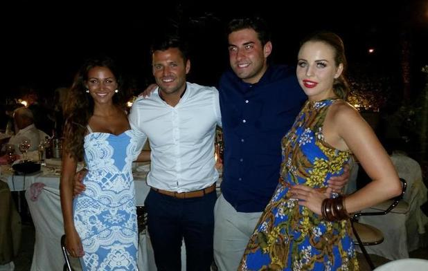 Big Mark Wright posts photo of son Mark with fiancee Michelle Keegan, and Arg with Lydia at Leah Wright's wedding (17 July).