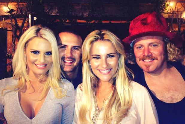 Danielle Armstrong and Georgia Kousoulou grab a photo with Celebrity Juice host Leigh Francis and Take Me Out presenter Paddy McGuinness.