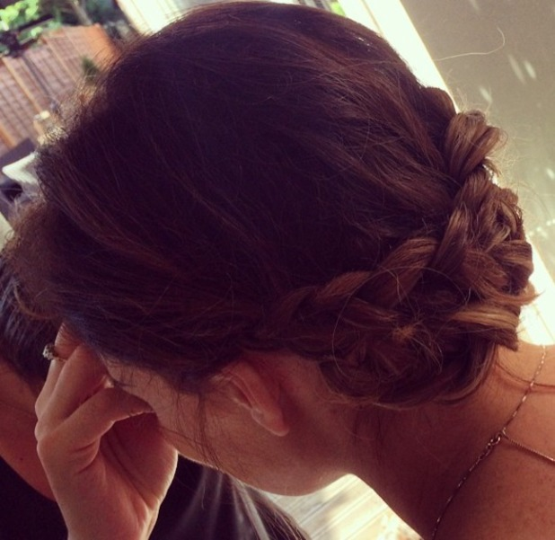 Jessica Wright works braided updo for TOWIE filming, 14 July 2014