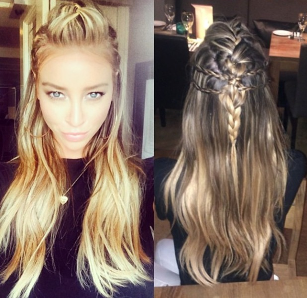 Lauren Pope shows off her half-up braided hair, 15 July 2014