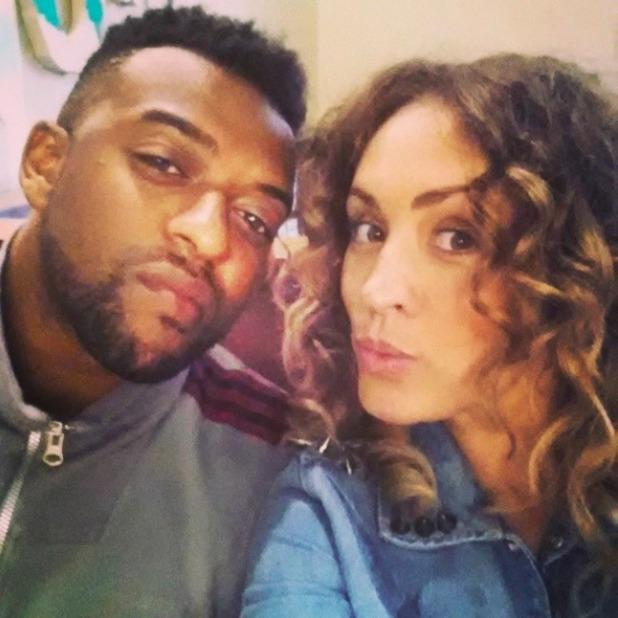 JLS singer Oritse Williams and his girlfriend Aimee Jade, 19 July 2014