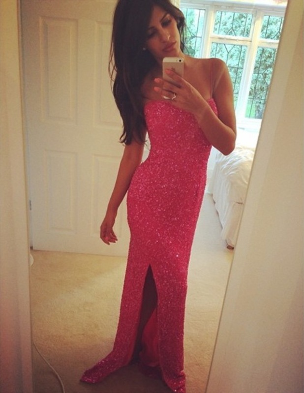 TOWIE's Jasmin Walia poses for an Instagram picture in a pink floor-length dress - 14 July 2014