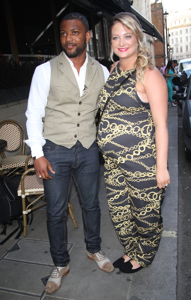 JB Gill and pregnant wife Chloe Tangney at Mike Hough's EP launch held at the Soho Sanctum Hotel - Outside Arrivals 07/15/2014