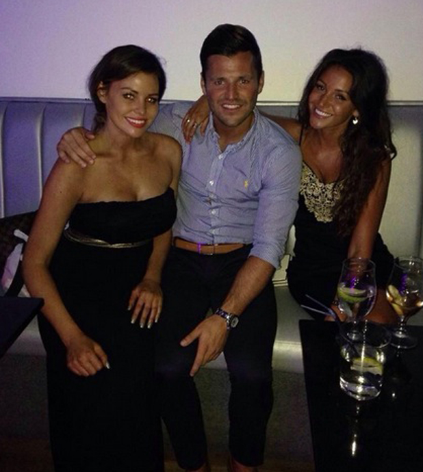 Mark Wright with sister Jessica and fiancee Michelle Keegan in Alicante, 17 July 2014