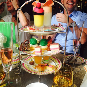 Billie Faiers, Sam Faiers and their family enjoy afternoon tea at The Berkley in London with Billie's newborn daughter, 17 July 2014