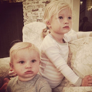 Jessica Simpson shows off her kids Ace and Maxwell after returning from honeymoon, July 2014