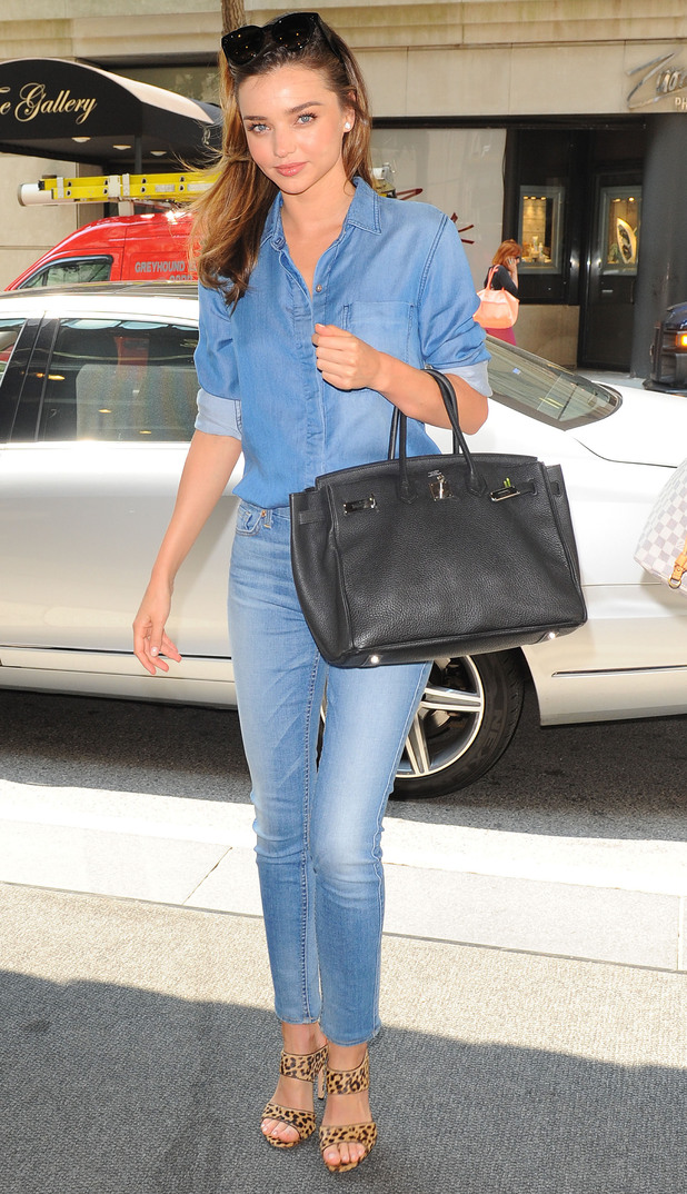 Miranda Kerr rocks the double denim trend while out in New York, America - 21 July 2014