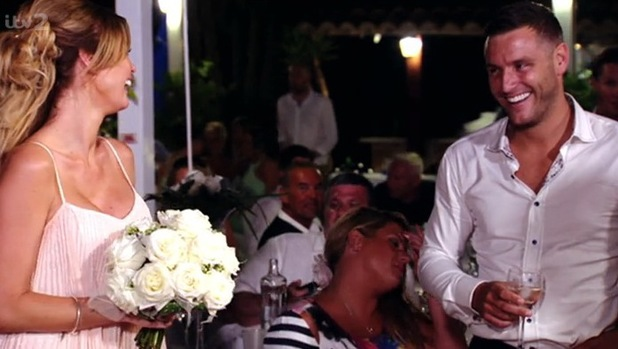 TOWIE's Elliott Wright declares love for Chloe Sims during his sister Leah's wedding celebrations. 23 July.