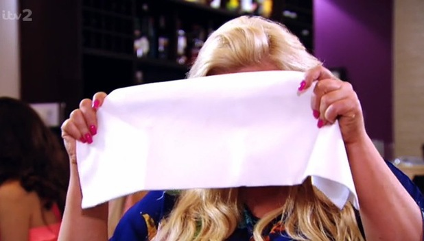 Gemma Collins hides behind napkin on blind date with Gino Antonio, TOWIE, 23 July