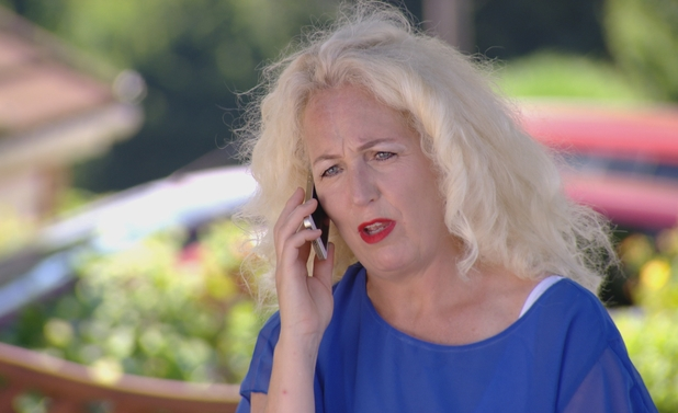 TOWIE: Lydia Bright's mum Debbie Douglas on the phone to Arg. Episode airs: 23 July 2014.