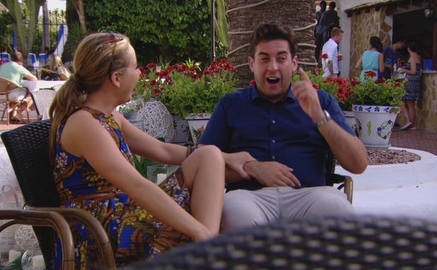 TOWIE: Lydia Bright and James 'Arg' Argent joke about Lydia getting married. Episode airs: 23 July 2014.
