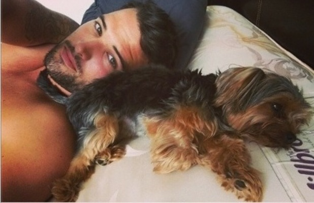 TOWIE's Ricky Rayment lies in bed with Jessica Wright's dog Bella - 23 July 2014